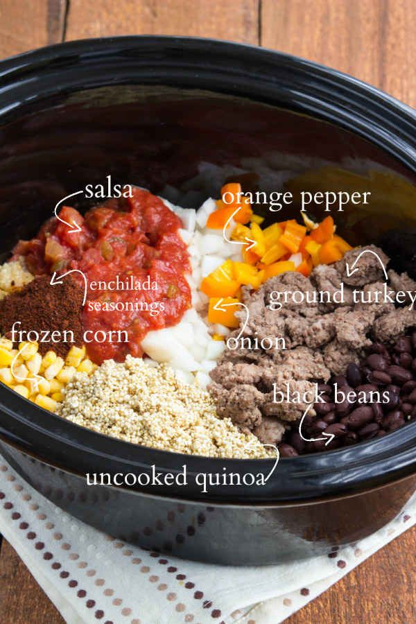 Cheesy Enchilada Quinoa. This looks interesting. I would leave out meat or use soy protein.