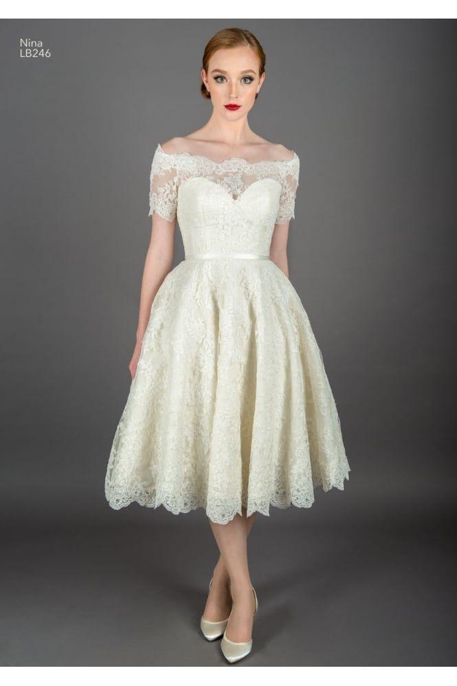 NINA Tea Length Vintage Lace Off the Shoulder Wedding Gown