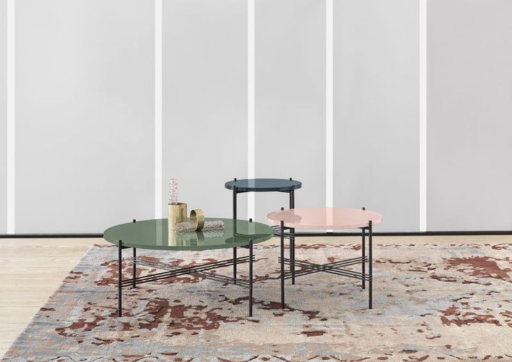 GUBI // TS table by GamFratesi with new coloured glass table tops