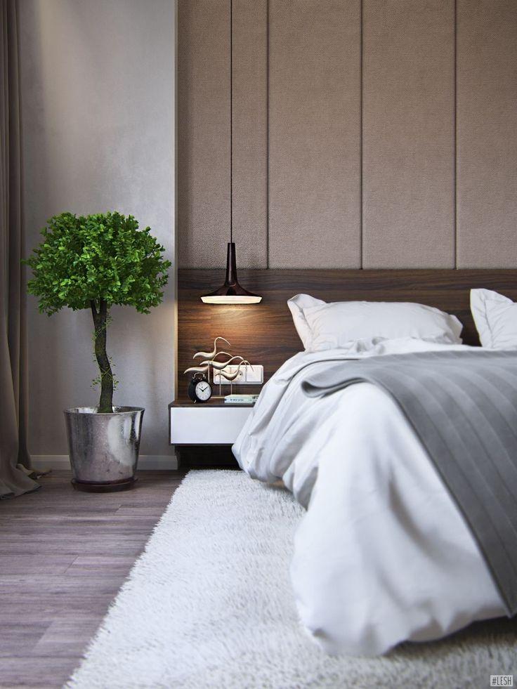Прикроватные тумбочки, мягкая стена за кроватью