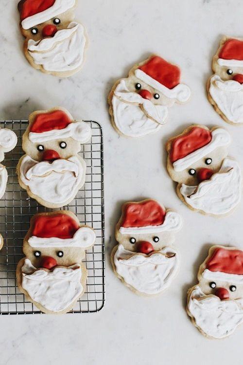 cute santa cookies - theme | holidays - christmas - inspiration - idea - ideas - decoration