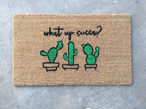 What Up Succa  Hand-painted Coir Doormat by After Infinity
