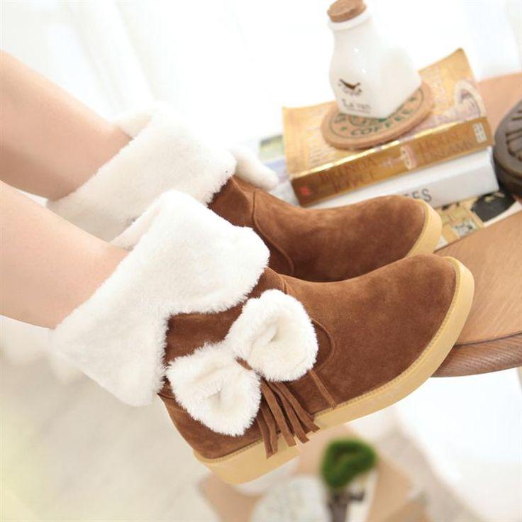 2014 bajo nieve botas de tacón plano botas zapatos chicos chicas secundaria estudiantes arco borlas mujeres