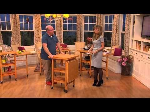 Folding Island Expandable Hardwood Kitchen Cart with Jennifer Coffey - YouTube