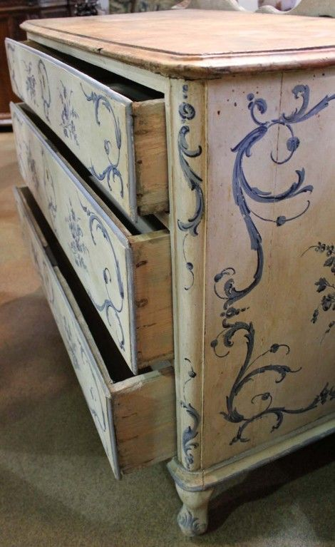 An 18th c. Italian Painted Blue and White Commode Chest of Drawers at 1stdibs