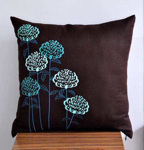 Teal Throw Pillow Cover Teal floral embroidery on Dark by KainKain