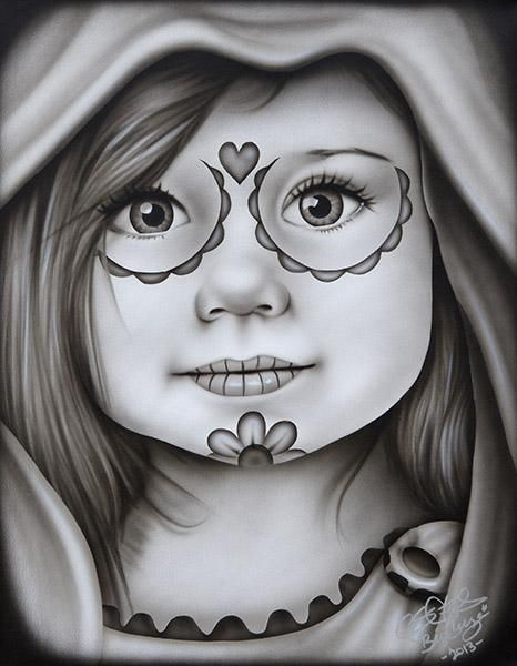 Daisy by Big Ceeze Children Death Mask Little Girl Tattoo Art Print