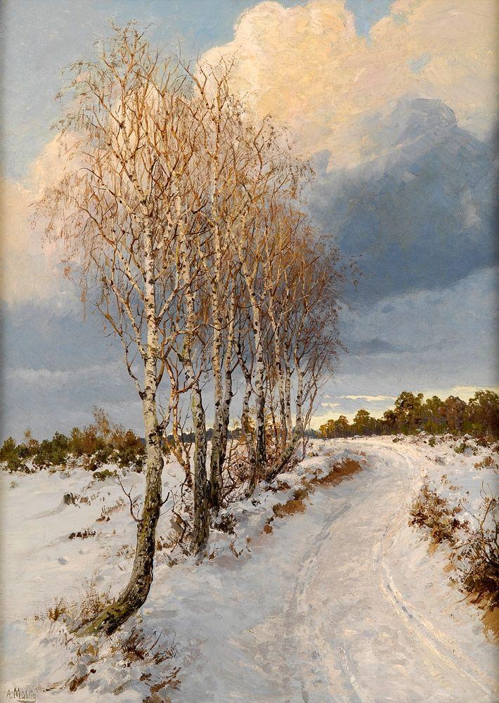 """Maxfield Parrish """"White Birch"""" 1929 oil on board"""