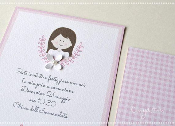 Invito Prima Comunione Partecipazioni Comunione Bambina First Communion Cards Invitations Pink Envelopes