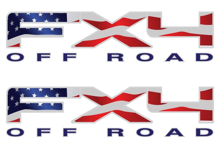 Ford F150 FX4 Decals in Stars and Stripes with Metallic Silver and Black OFF ROAD Logo Very high quality and direct replacement for the F150 decals located on the left and right sides of the bed Inclu