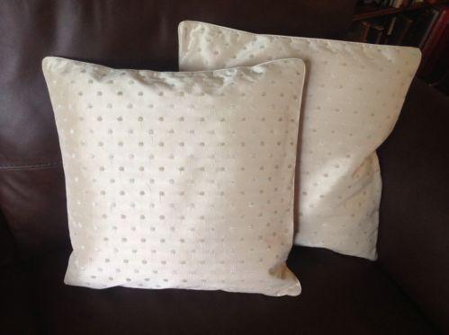 "2 New cream designer taffeta cushion covers cream small spots 16"" RRP £17 each"
