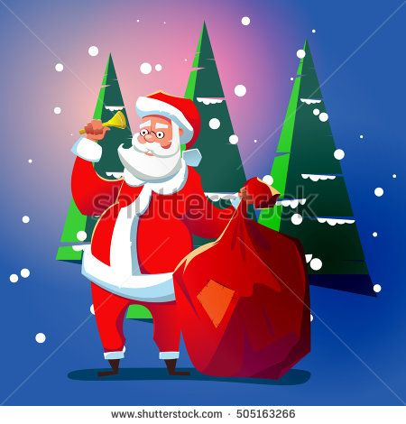 Santa Claus with a bell. Cartoon illustration for Christmas.