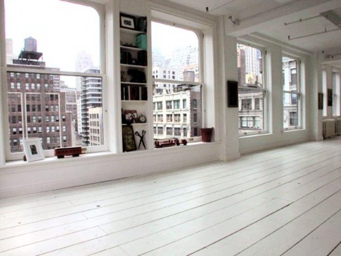 white floors, white loft