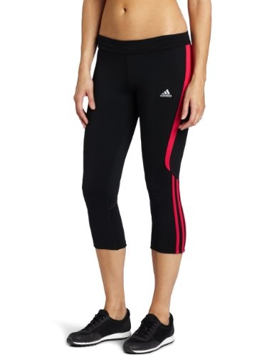 Adidas Womens Response Drei Streifen Three-Quarter Tight.   -polyester -Drawstring closure -Climalite Technology -3-Stripe Branded -Machine Washable