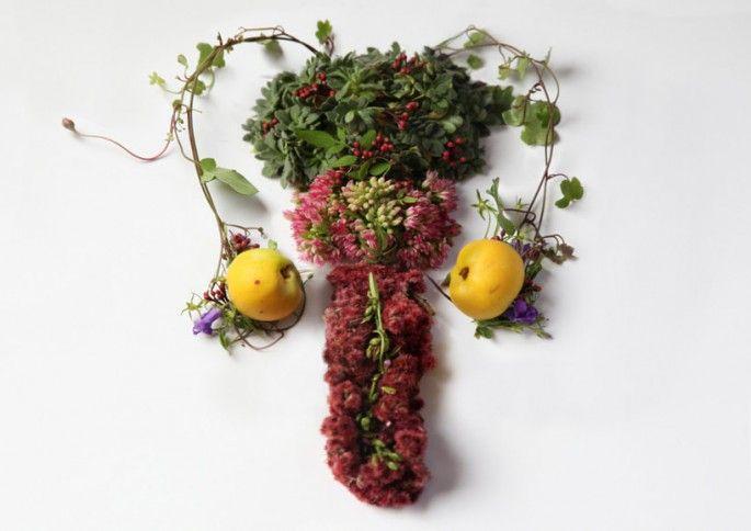 sculptures organes humains en vegetaux testicules   Sculptures dorganes humains en végétaux   vegetal Sculpture photo organe image Camila Ca...