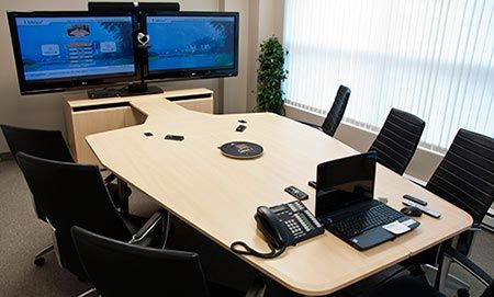 VC-TABLE brings a clean high-tech look to today's conference rooms. VC-TABLE is offered stand-alone or as our configured room packages. Please click the image for more details and available packages.