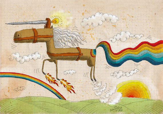 My original illustration reproduction / print *unicorn* by RobertRomanowicz on Etsy