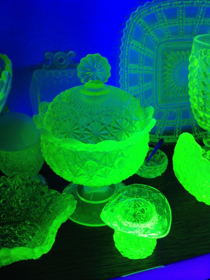 Vaseline (uranium) glass. I have a tiny UV light just so I can make stuff glow at antique shops lol.