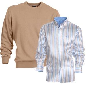 Plain knit Blackwater and stripe shirt Grumbia match perfectly for your casual outfit #menswear #fashion