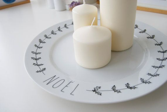 NOEL  hand illustrated christmas centrepiece plate by ohNOrachio, £35.00
