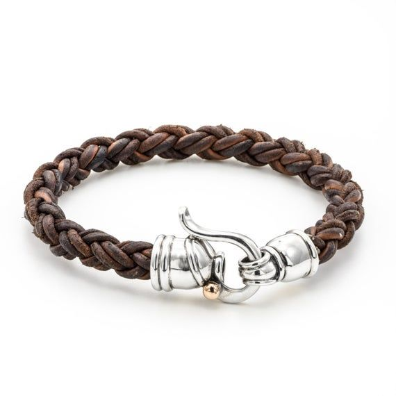 this leather bracelet is brown leather, braided bracelet leather, can be a birth…   – Leather wrap