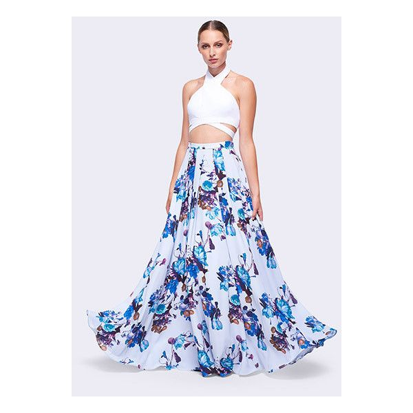 Aqua Lily Blue Print Clover Two Piece Dress ($299) ❤ liked on Polyvore featuring dresses, aqua lily, two piece prom dresses, blue floral dresses, aqua blue dress, prom dresses and two piece homecoming dress