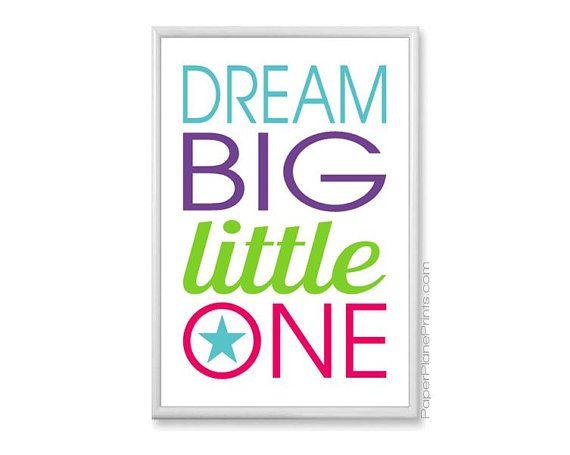 Citation inspirante - rêve un peu gros, Baby Girl pépinière Art - 11 x 14 bleu sarcelle chaux violet rose vif - typographie Word Art