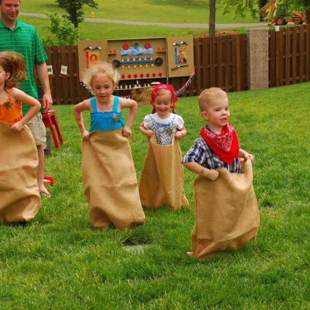 Cowboy party sack races