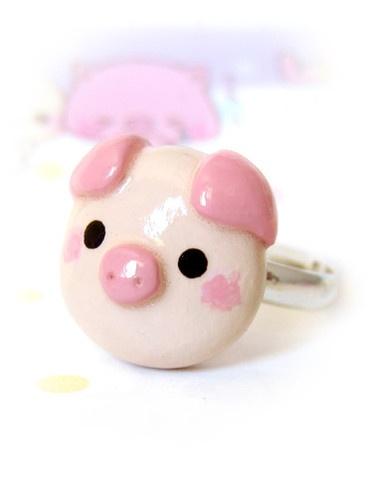 "(""Kawaii Pig Ring"", by Oboro Charm) $10"
