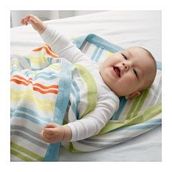 IKEA - DRÖMLAND, Baby blanket, , Soft knitted blanket that feels nice against the skin – perfect to put over your baby when it's time for a short nap.The yarn-dyed fabric keeps both its shape and color, wash after wash.You can use the blanket on top of a sheet or inside a duvet cover.