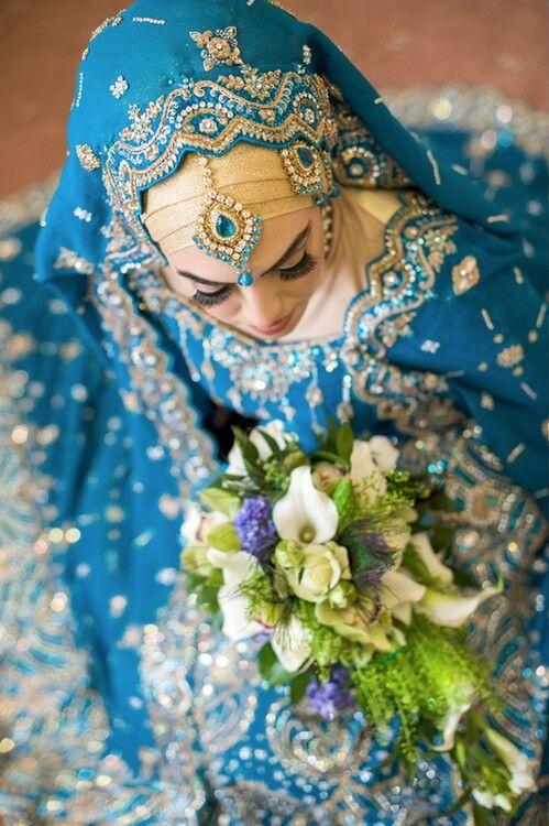 blue bridal sari
