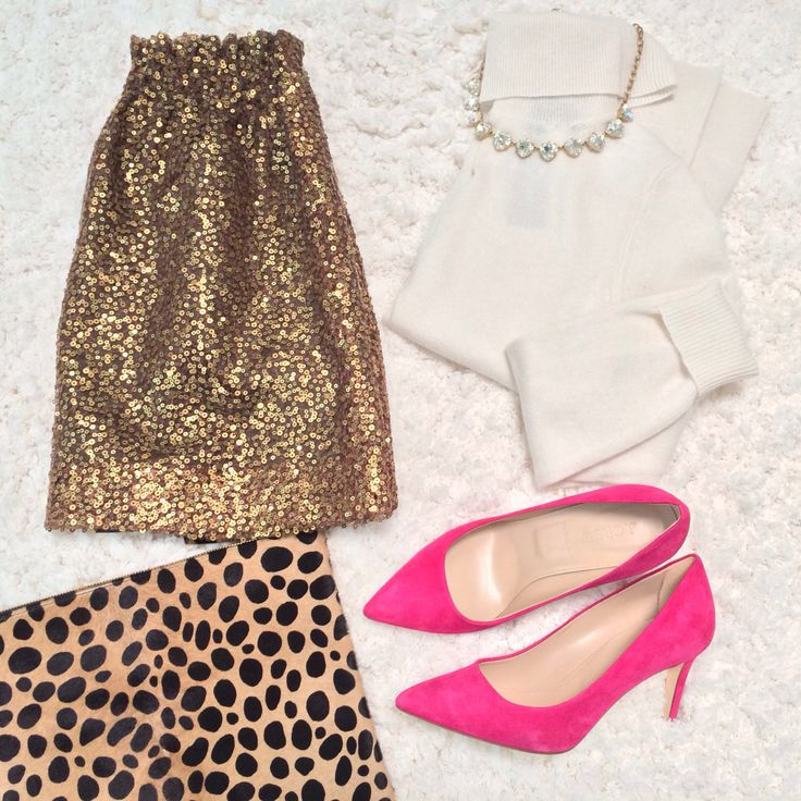 StylishPetite.com | Holiday outfit idea with J.Crew gold sequin skirt, cashmere turtleneck, leopard clutch and hot pink heels