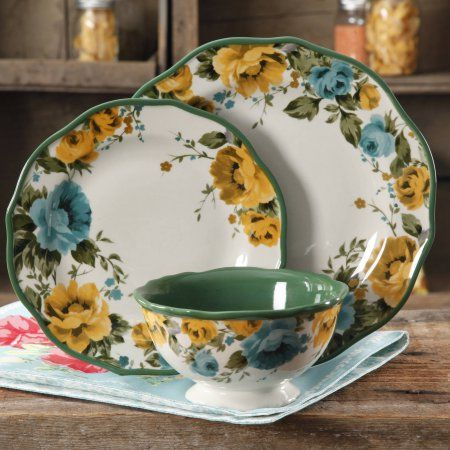 Free 2-day shipping. Buy The Pioneer Woman Rose Shadow 12-Piece Dinnerware Set at Walmart.com