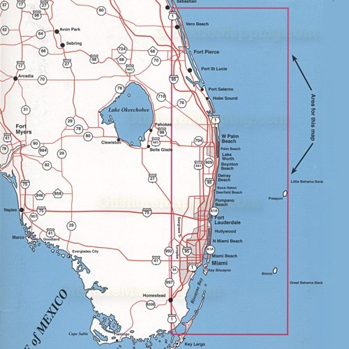 Bimini florida east coast bahamian maps maps of for Map of east coast of florida
