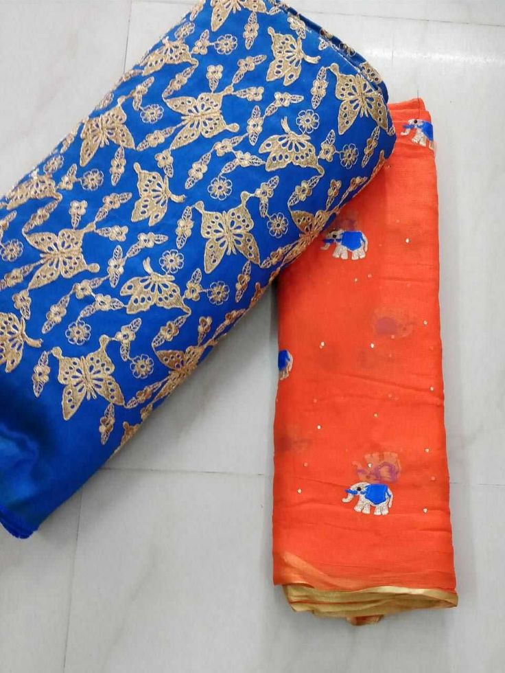 Chiffon saree with elephant all over
