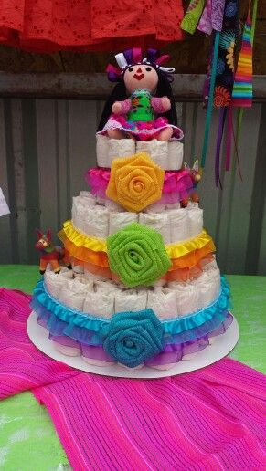 Mexican theme baby shower diaper cake!