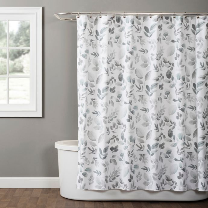 Windsor Leaves Fabric Shower Curtain In Grey Bed Bath Beyond