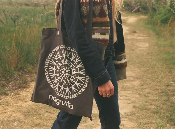 With each nagnAta purchase online you receive an organic cotton mandala tote bag | also available for sale individually online nagnAta.com/totebags #saynotoplastic #reuse #sustainable #packaging