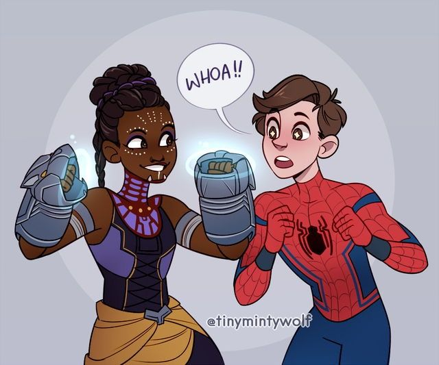Shuri and Peter by @tinymintywolf   @ Marvel LET THEM MEET!!!