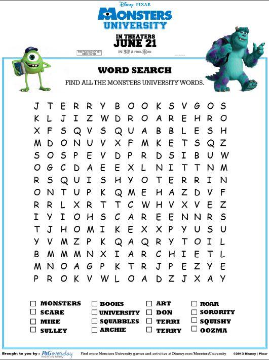 Monsters University Word Search   Disney Paper Activities ...