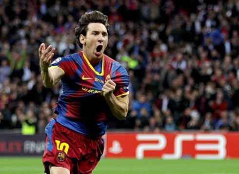 Lionel Messi goal celebration in the UEFA Champions League final, between Barcelona and Manchester United