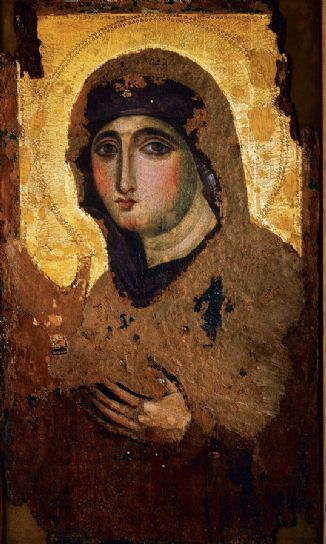 Byzantine icon of Agiosoritissa Mother of God of the 7th century, one of the few Byzantine icons that survived from the war of icons. Made in Constantinople. Dimension 42.5 x 71.5 cm. Is keeping at the church Santa Maria del Rosario a Monte, Mario, Rome.