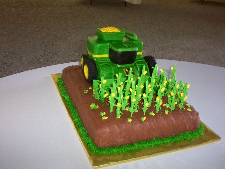 John Deere Corn Combine Groom's cake - Made this for My Nephew's wedding. Everything is edible! Decorated with buttercream with fondant accents.