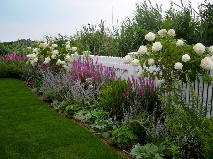 plant grouping for along fence repetition and symmetry white hydrangea shaped into mini tree pink astilbe lavendar hosta unknown ground cover with - Garden Ideas Along Fence Line