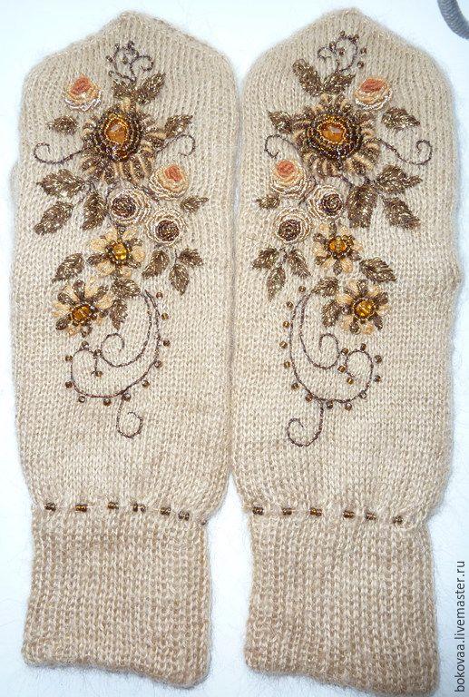 """Купить Варежки """"Утренний сад"""" - бежевый, цветочный, варежки женские, варежки вязаные, варежки теплые"""