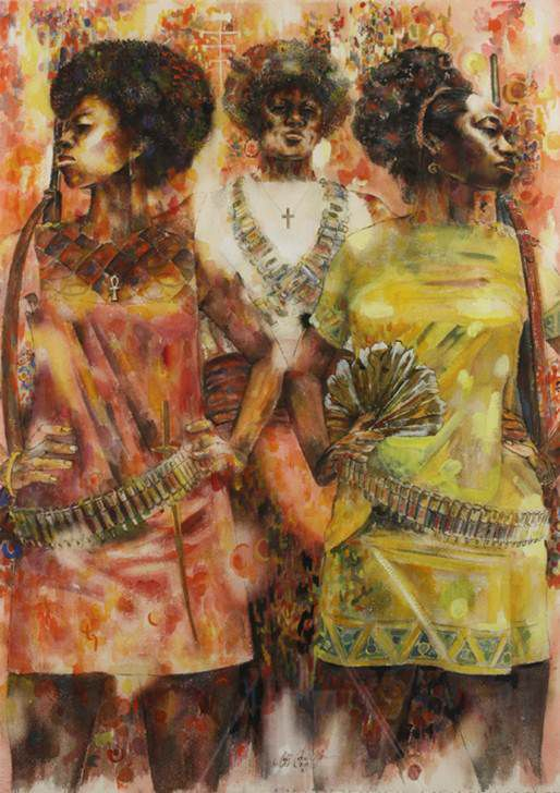 Jeff Donaldson (American, 1932-2004). Wives of Shango, 1969. Watercolor with mixed media on paper, 30 x 22 in. (76.2 x 55.9 cm). Brooklyn Museum, Gift of R.M. Atwater, Anna Wolfrom Dove, Alice Fiebiger, Joseph Fiebiger, Belle Campbell Harriss, and Emma L. Hyde, by exchange; Designated Purchase Fund, Mary Smith Dorward Fund, Dick S. Ramsay Fund, and Carll H. de Silver Fund, 2012.80.13