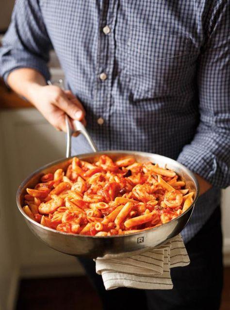 Recette de Ricardo de pâtes aux crevettes et aux olives