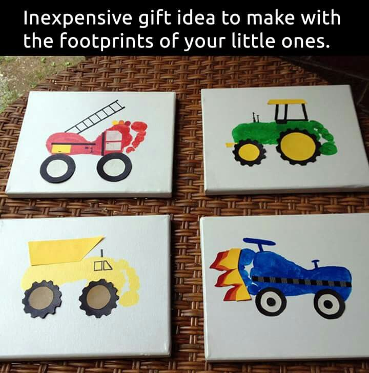 Firetruck, Tractor, Dump Truck, Race Car Footprints