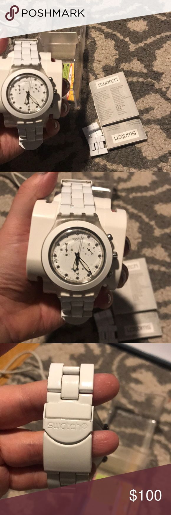 White Swatch Watch Perfect Condition! Swatch Watch! Comes with box and extra links Swatch Accessories Watches