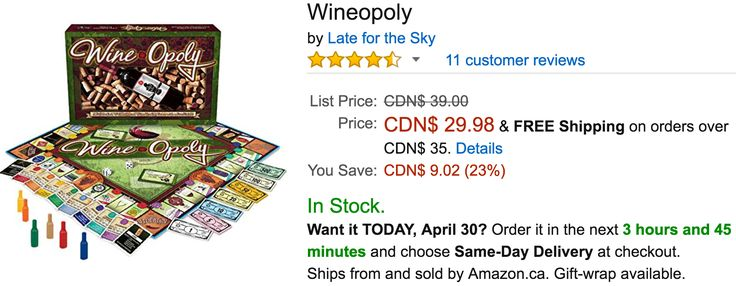 Amazon Canada Deals: Save 23% on Wineopoly 20% on LEGO Nexo Knights Three Brothers Building Kit & More http://www.lavahotdeals.com/ca/cheap/amazon-canada-deals-save-23-wineopoly-20-lego/195749?utm_source=pinterest&utm_medium=rss&utm_campaign=at_lavahotdeals